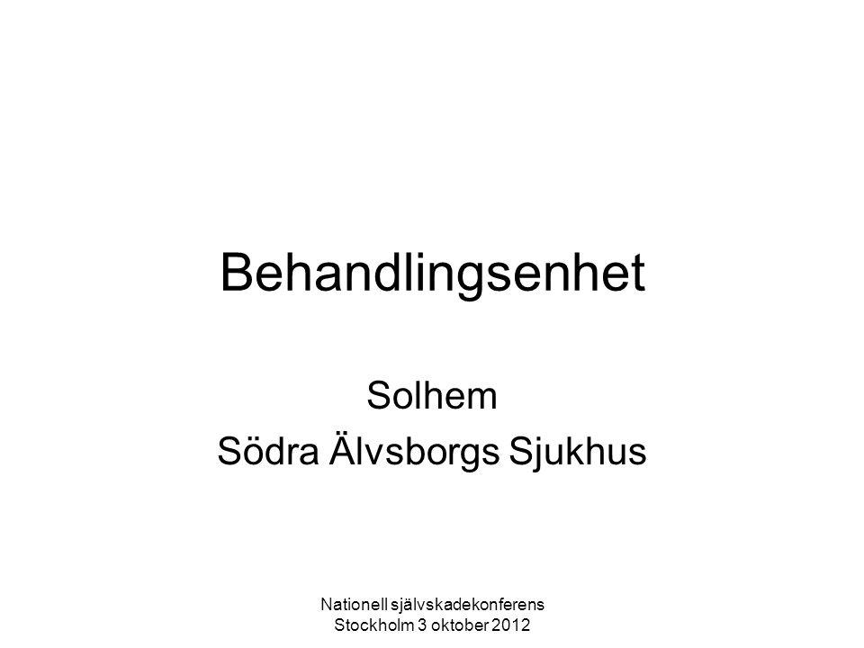 Nationell självskadekonferens Stockholm 3 oktober 2012 Behandlingsenhet Solhem Södra Älvsborgs Sjukhus