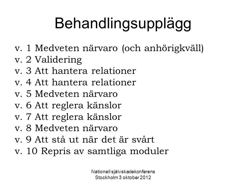 Nationell självskadekonferens Stockholm 3 oktober 2012 Behandlingsupplägg v. 1 Medveten närvaro (och anhörigkväll) v. 2 Validering v. 3 Att hantera re