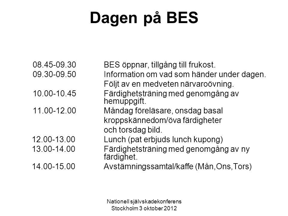 Nationell självskadekonferens Stockholm 3 oktober 2012 Dagen på BES 08.45-09.30BES öppnar, tillgång till frukost. 09.30-09.50 Information om vad som h
