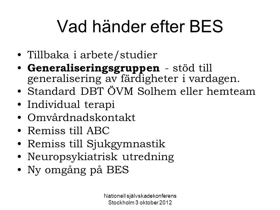 Nationell självskadekonferens Stockholm 3 oktober 2012 Vad händer efter BES Tillbaka i arbete/studier Generaliseringsgruppen - stöd till generaliserin