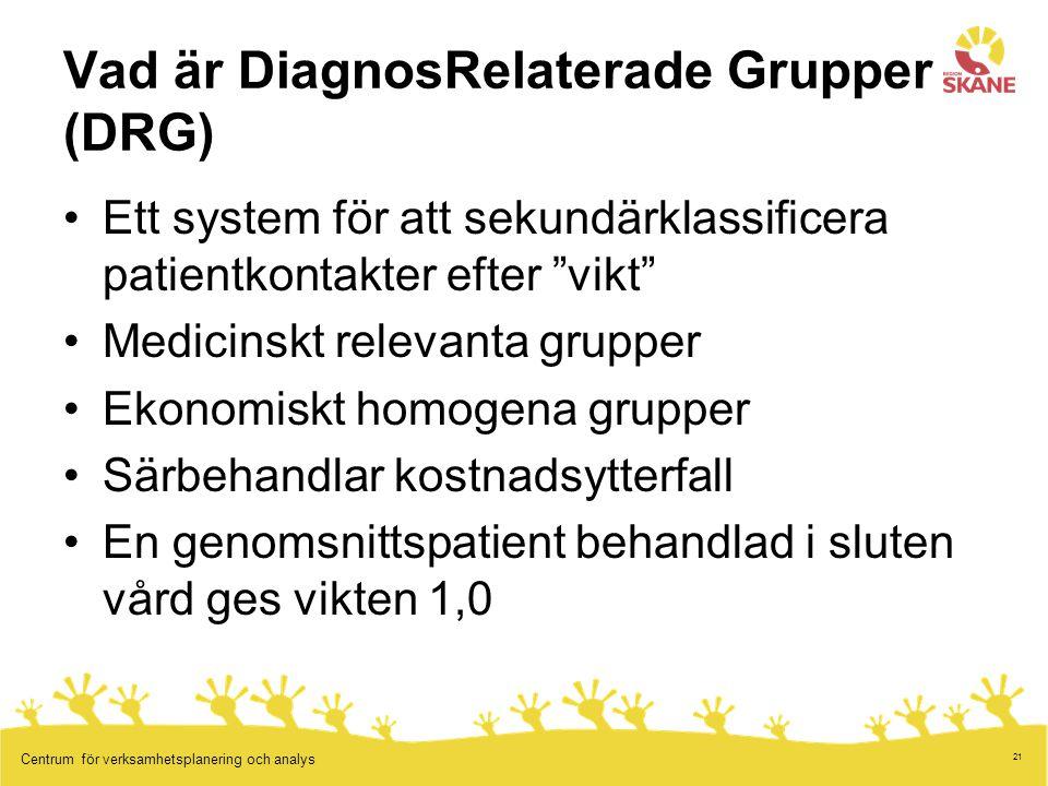 """21 Centrum för verksamhetsplanering och analys Vad är DiagnosRelaterade Grupper (DRG) Ett system för att sekundärklassificera patientkontakter efter """""""