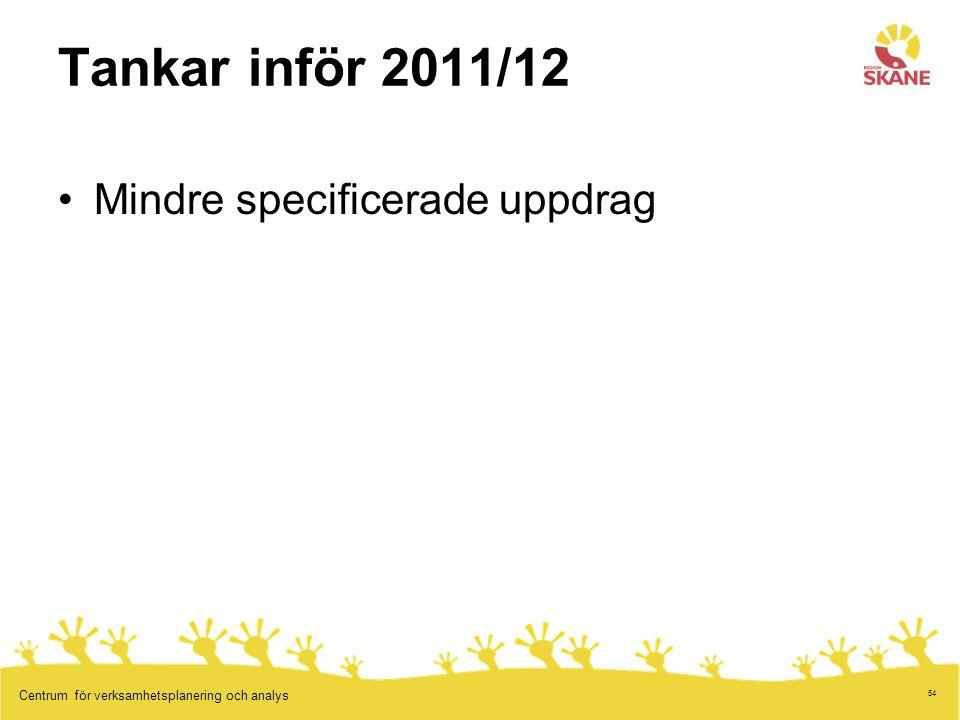 54 Centrum för verksamhetsplanering och analys Tankar inför 2011/12 Mindre specificerade uppdrag