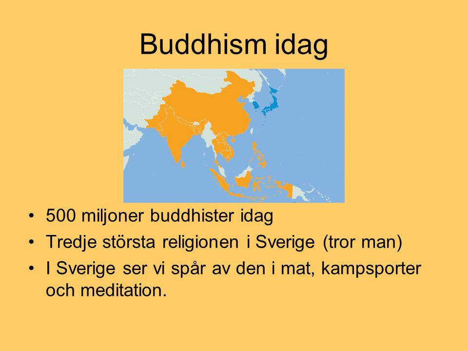 Buddhism idag 500 miljoner buddhister idag Tredje största religionen i Sverige (tror man) I Sverige ser vi spår av den i mat, kampsporter och meditati