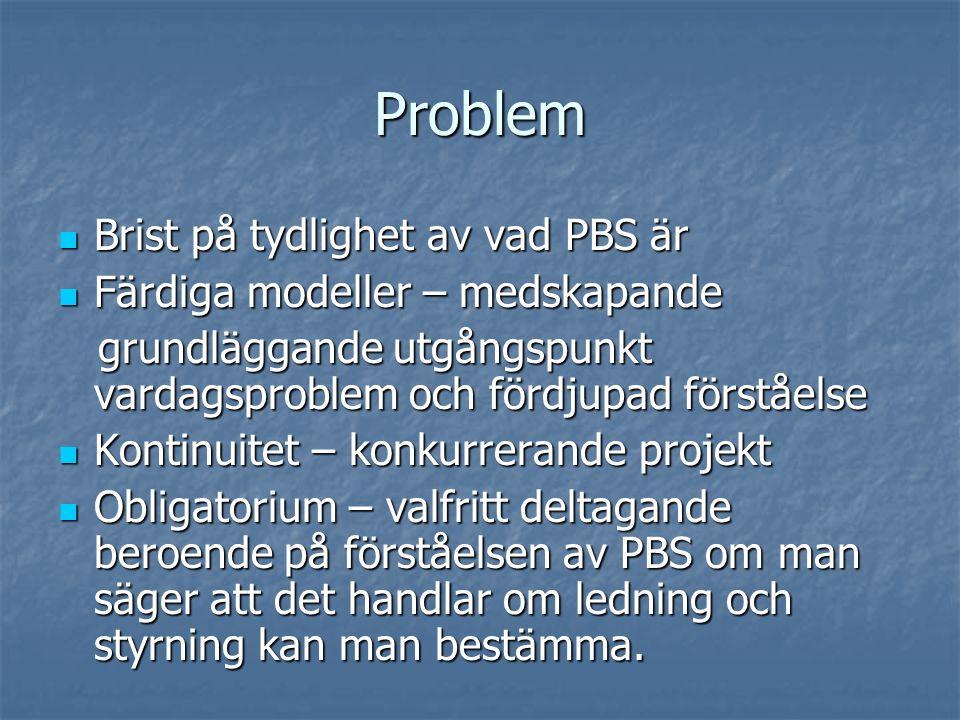 Problem Brist på tydlighet av vad PBS är Brist på tydlighet av vad PBS är Färdiga modeller – medskapande Färdiga modeller – medskapande grundläggande