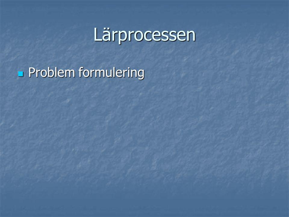 Lärprocessen Problem formulering Problem formulering