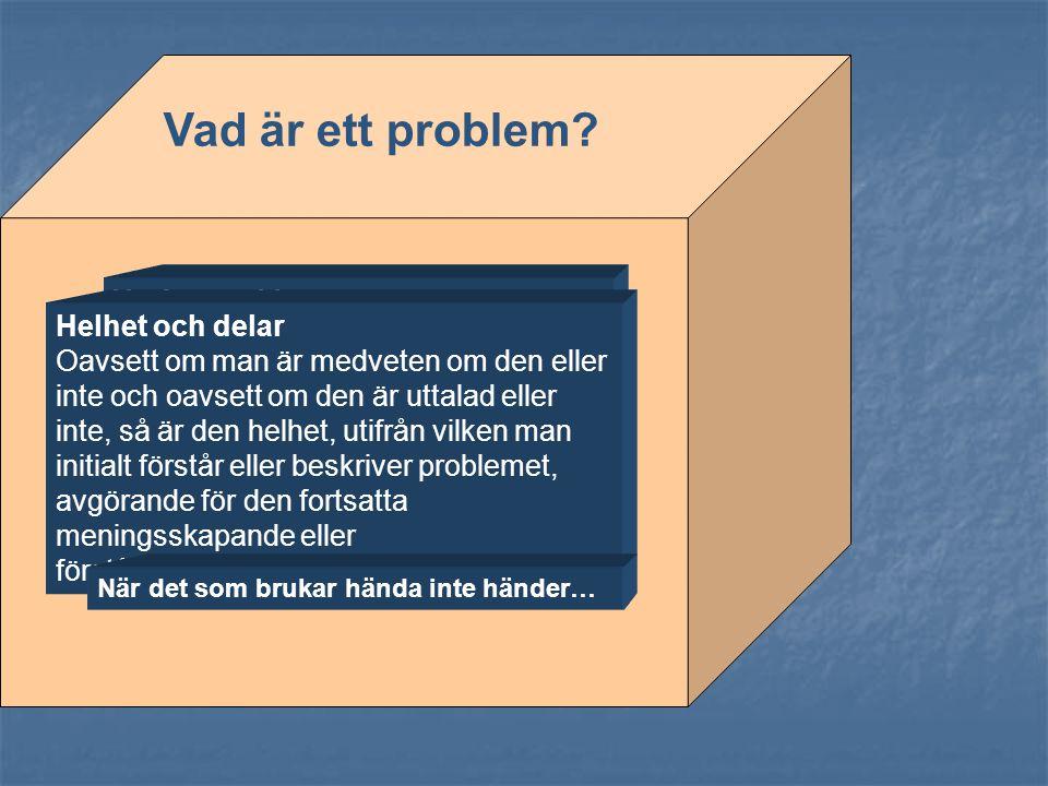Ett problem är en fråga som man inte har något svar på, något som förbryllar en. Det man förväntar sig inträffar inte eller det man inte förväntar sig