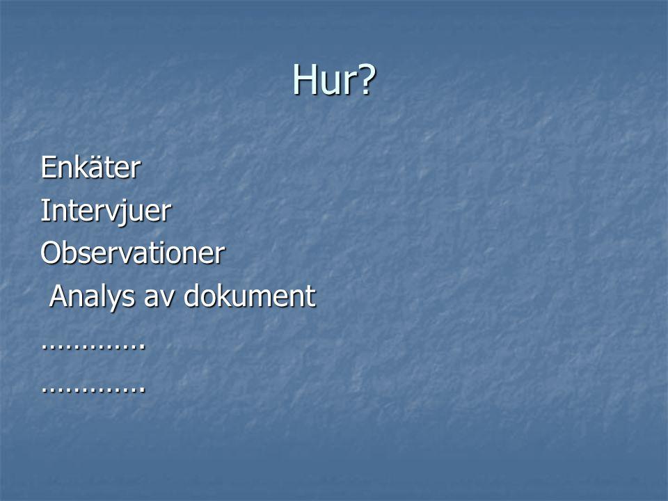 Hur? EnkäterIntervjuerObservationer Analys av dokument Analys av dokument………….………….
