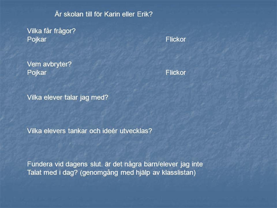 Är skolan till för Karin eller Erik? Vilka får frågor? PojkarFlickor Vem avbryter? PojkarFlickor Vilka elever talar jag med? Vilka elevers tankar och
