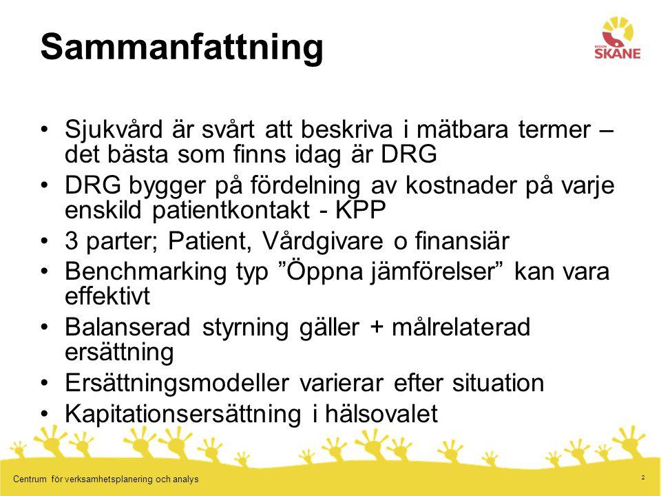 2 Centrum för verksamhetsplanering och analys Sammanfattning Sjukvård är svårt att beskriva i mätbara termer – det bästa som finns idag är DRG DRG byg