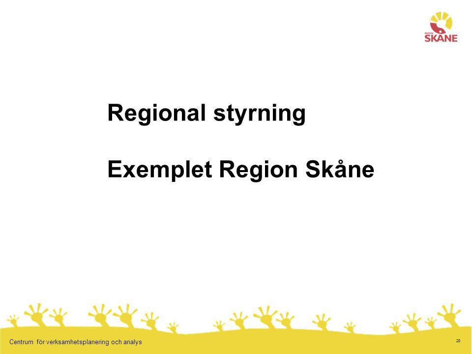 28 Centrum för verksamhetsplanering och analys Regional styrning Exemplet Region Skåne