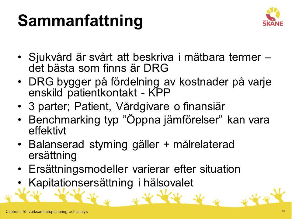 68 Centrum för verksamhetsplanering och analys Sammanfattning Sjukvård är svårt att beskriva i mätbara termer – det bästa som finns är DRG DRG bygger