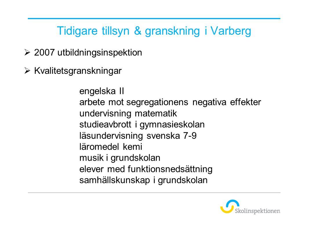 Pågående tillsyn & granskning i kommunen  Under våren och hösten 2013 genomförs regelbunden tillsyn i Varbergs kommun.
