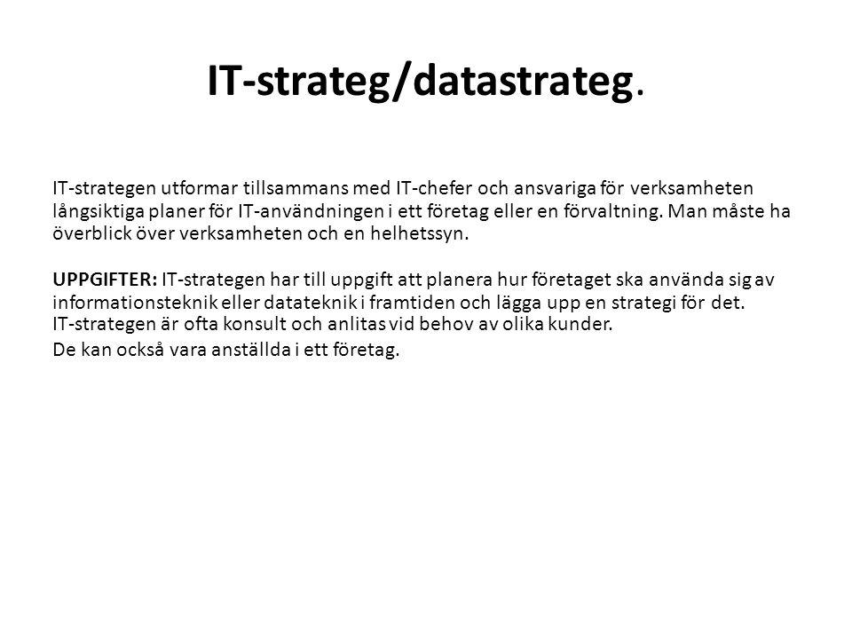 IT-strateg/datastrateg. IT-strategen utformar tillsammans med IT-chefer och ansvariga för verksamheten långsiktiga planer för IT-användningen i ett fö