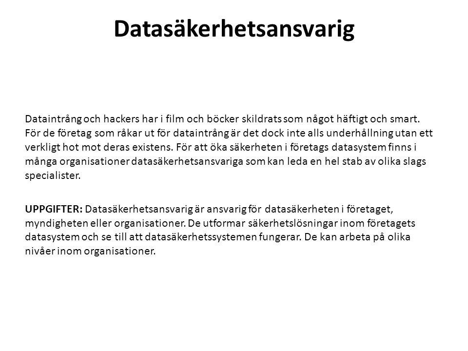 Datasäkerhetsansvarig Dataintrång och hackers har i film och böcker skildrats som något häftigt och smart.