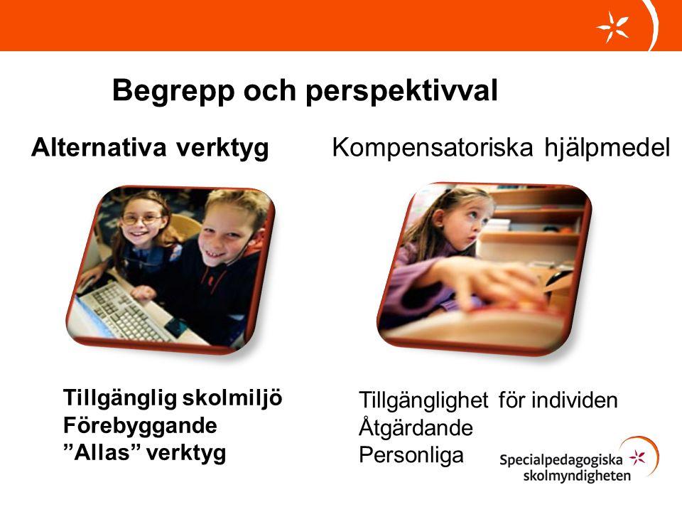 """Kompensatoriska hjälpmedelAlternativa verktyg Begrepp och perspektivval Tillgänglig skolmiljö Förebyggande """"Allas"""" verktyg Tillgänglighet för individe"""