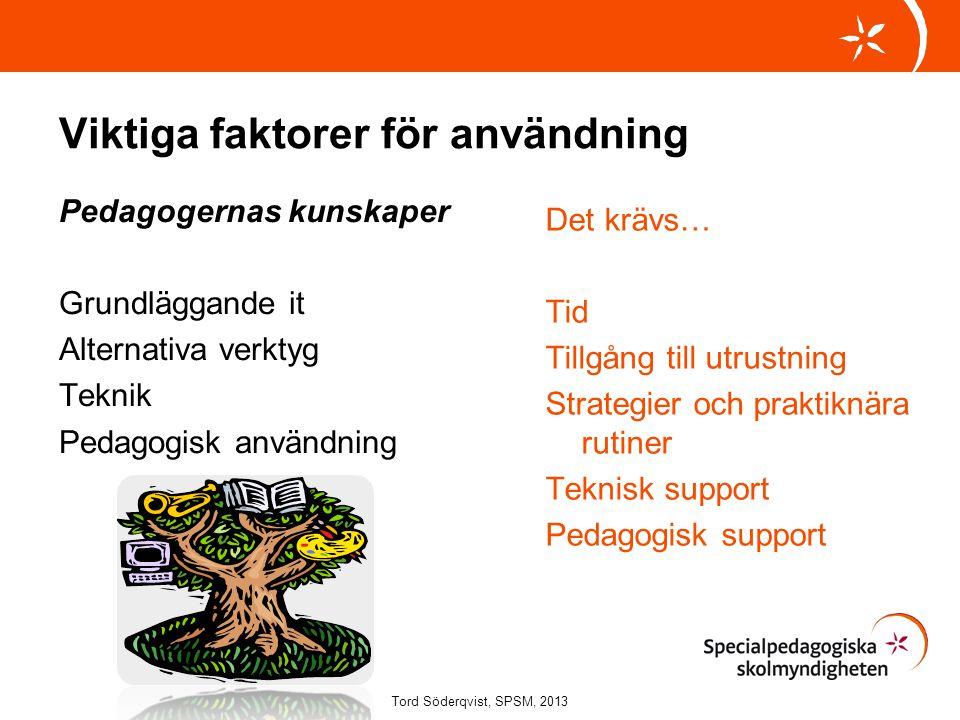 Viktiga faktorer för användning Pedagogernas kunskaper Grundläggande it Alternativa verktyg Teknik Pedagogisk användning Det krävs… Tid Tillgång till
