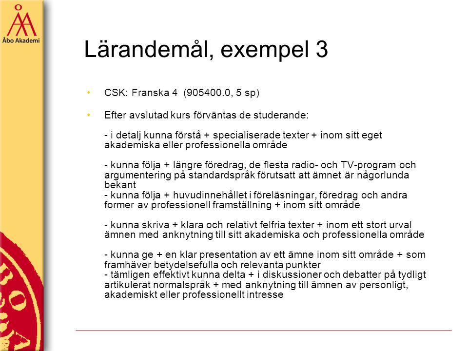Lärandemål, exempel 3 CSK: Franska 4 (905400.0, 5 sp) Efter avslutad kurs förväntas de studerande: - i detalj kunna förstå + specialiserade texter + i