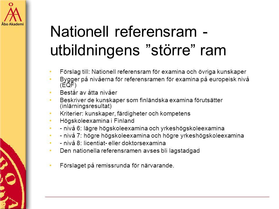 """Nationell referensram - utbildningens """"större"""" ram Förslag till: Nationell referensram för examina och övriga kunskaper Bygger på nivåerna för referen"""