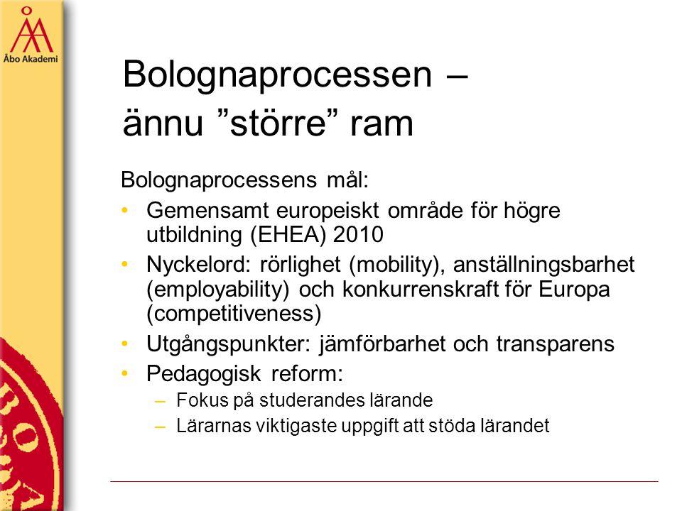 """Bolognaprocessen – ännu """"större"""" ram Bolognaprocessens mål: Gemensamt europeiskt område för högre utbildning (EHEA) 2010 Nyckelord: rörlighet (mobilit"""