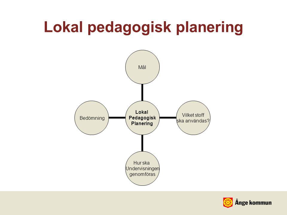 Lokal Pedagogisk Planering Mål Vilket stoff ska användas? Hur ska Undervisningen genomföras Bedömning Lokal pedagogisk planering