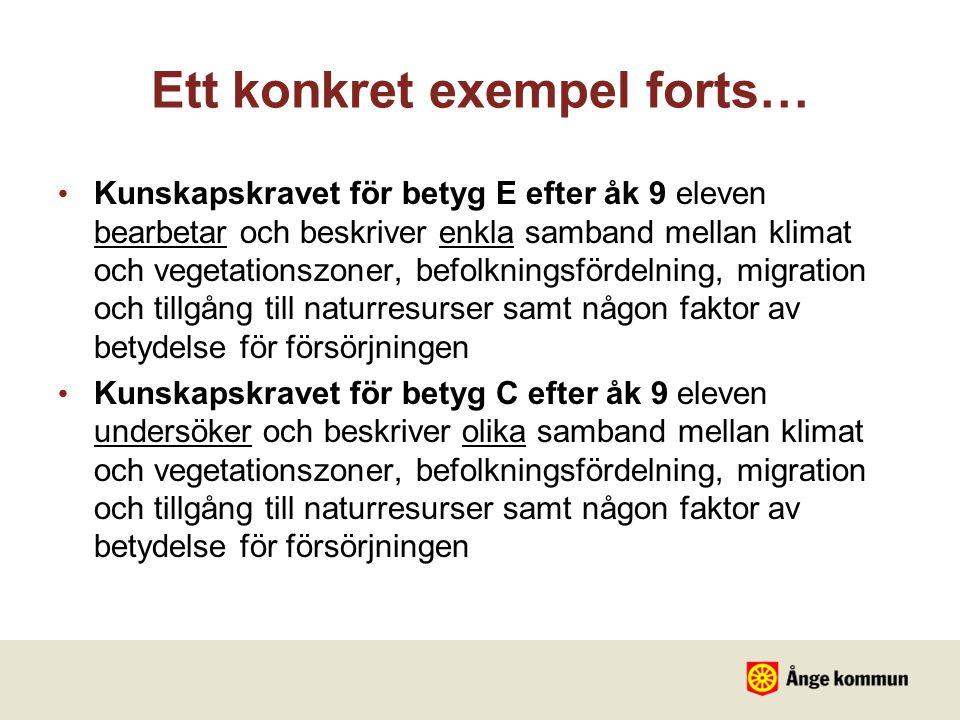 Ett konkret exempel forts… Kunskapskravet för betyg E efter åk 9 eleven bearbetar och beskriver enkla samband mellan klimat och vegetationszoner, befo