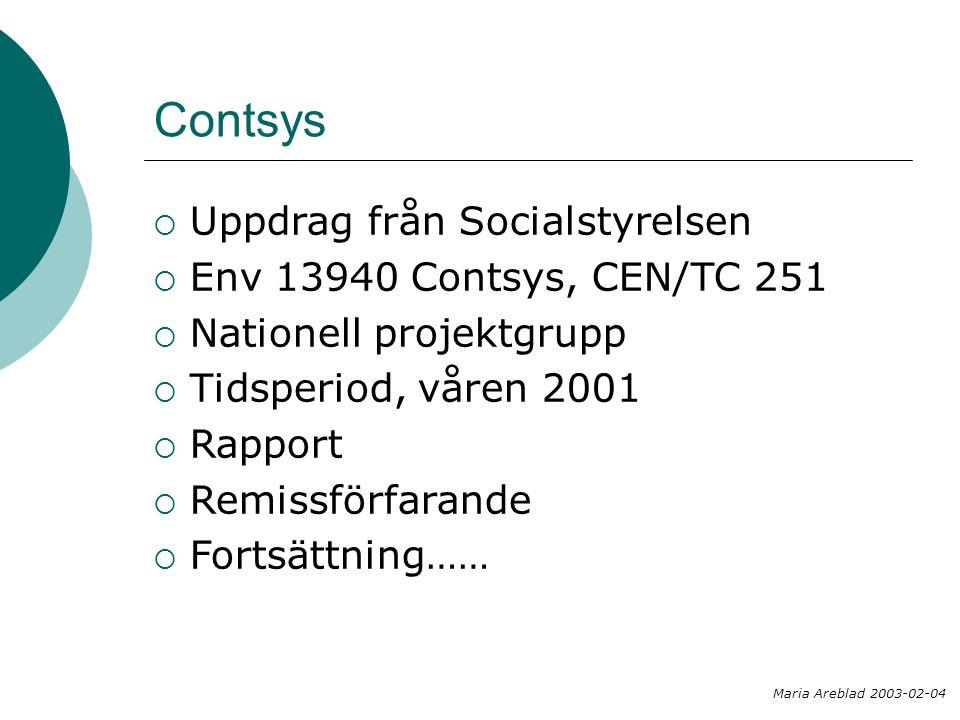  Uppdrag från Socialstyrelsen  Env 13940 Contsys, CEN/TC 251  Nationell projektgrupp  Tidsperiod, våren 2001  Rapport  Remissförfarande  Fortsä