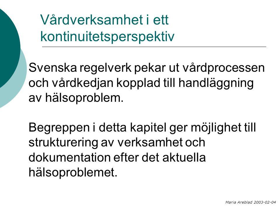 Vårdverksamhet i ett kontinuitetsperspektiv Svenska regelverk pekar ut vårdprocessen och vårdkedjan kopplad till handläggning av hälsoproblem. Begrepp