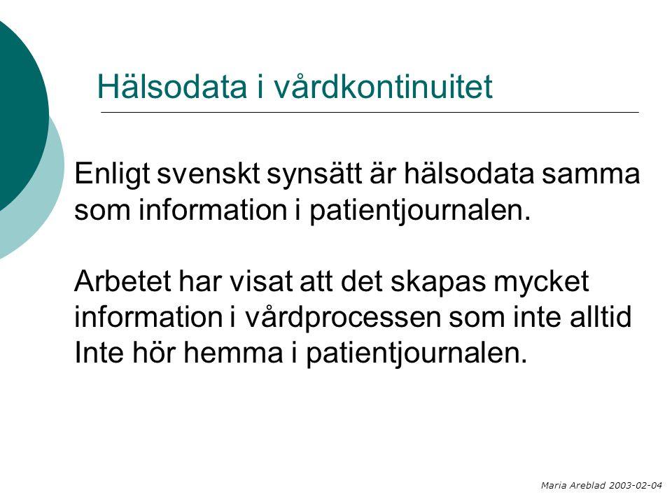 Hälsodata i vårdkontinuitet Enligt svenskt synsätt är hälsodata samma som information i patientjournalen. Arbetet har visat att det skapas mycket info
