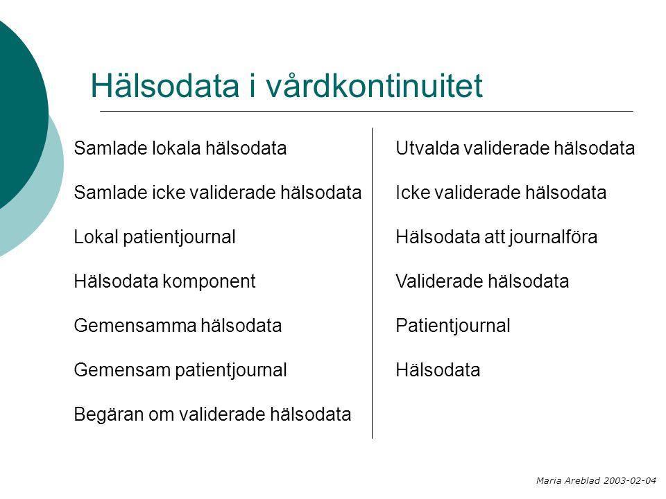 Utvalda validerade hälsodata Icke validerade hälsodata Hälsodata att journalföra Validerade hälsodata Patientjournal Hälsodata Hälsodata i vårdkontinu