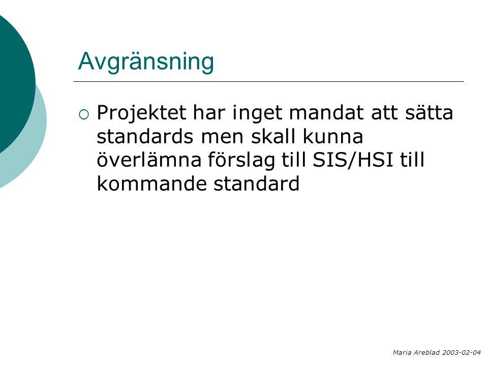 Avgränsning  Projektet har inget mandat att sätta standards men skall kunna överlämna förslag till SIS/HSI till kommande standard Maria Areblad 2003-