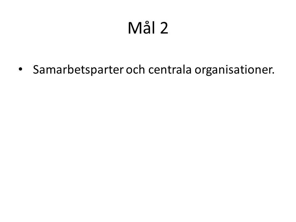 Mål 2 Samarbetsparter och centrala organisationer.