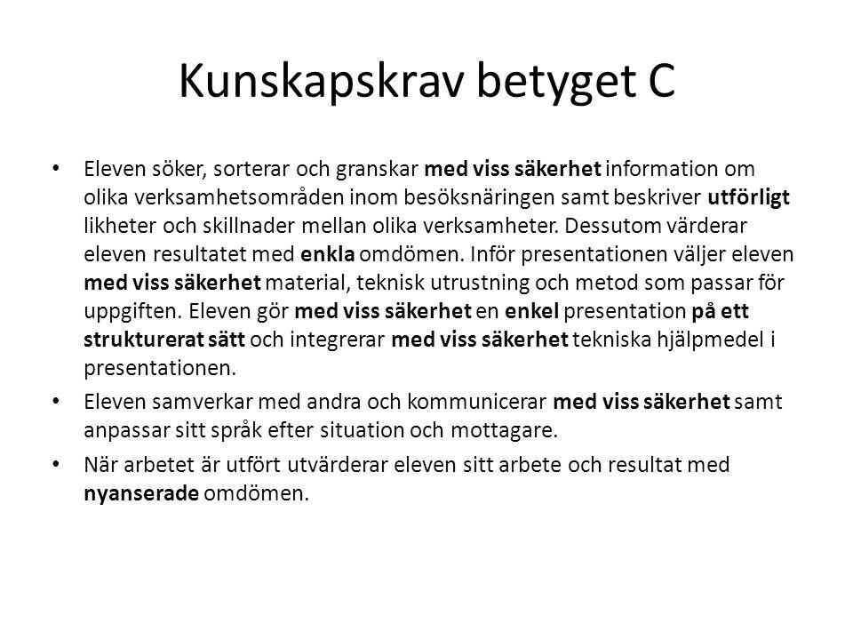 Kunskapskrav betyget C Eleven söker, sorterar och granskar med viss säkerhet information om olika verksamhetsområden inom besöksnäringen samt beskrive