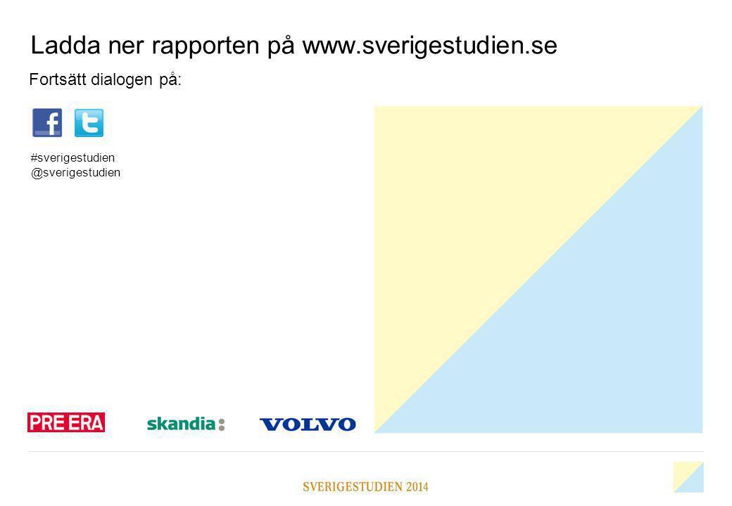 Ladda ner rapporten på www.sverigestudien.se Fortsätt dialogen på: #sverigestudien @sverigestudien