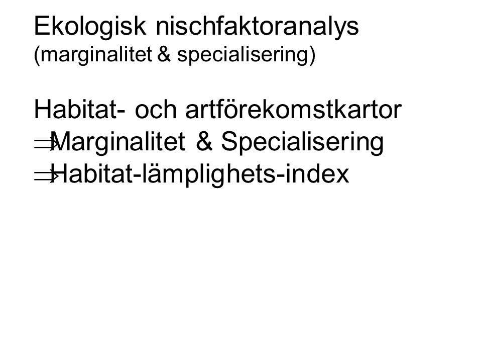 Ekologisk nischfaktoranalys (marginalitet & specialisering) Habitat- och artförekomstkartor  Marginalitet & Specialisering  Habitat-lämplighets-inde