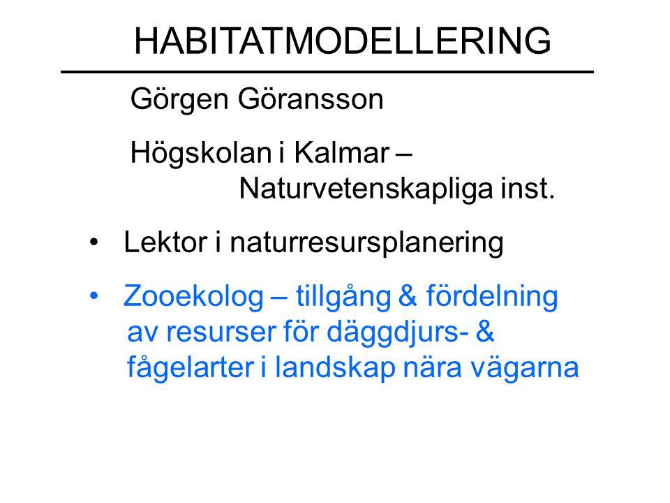 HABITATMODELLERING Görgen Göransson Högskolan i Kalmar – ……………Naturvetenskapliga inst. Lektor i naturresursplanering Zooekolog – tillgång & fördelning