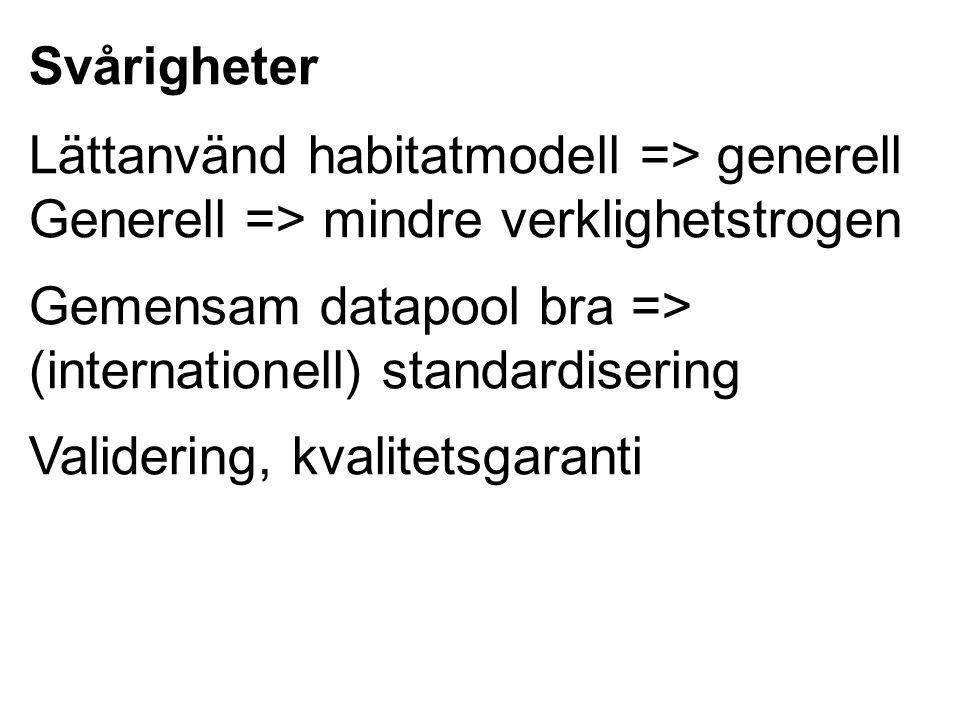 Svårigheter Lättanvänd habitatmodell => generell Generell => mindre verklighetstrogen Gemensam datapool bra => (internationell) standardisering Valide
