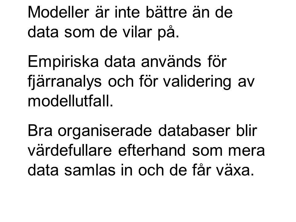 Modeller är inte bättre än de data som de vilar på. Empiriska data används för fjärranalys och för validering av modellutfall. Bra organiserade databa
