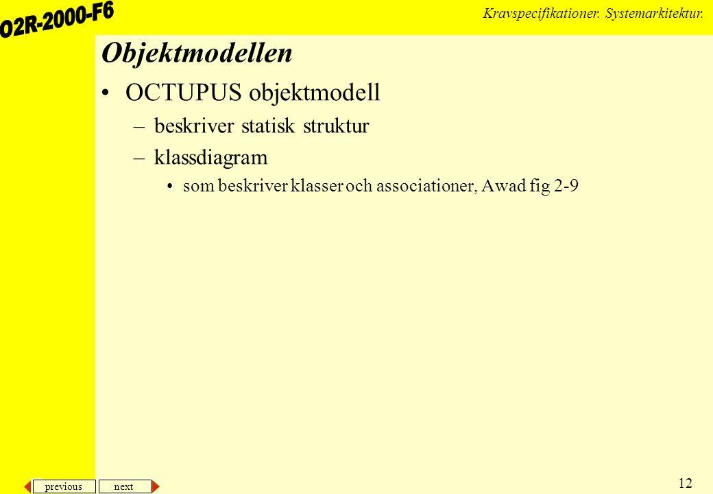 previous next 12 Kravspecifikationer. Systemarkitektur. Objektmodellen OCTUPUS objektmodell –beskriver statisk struktur –klassdiagram som beskriver kl