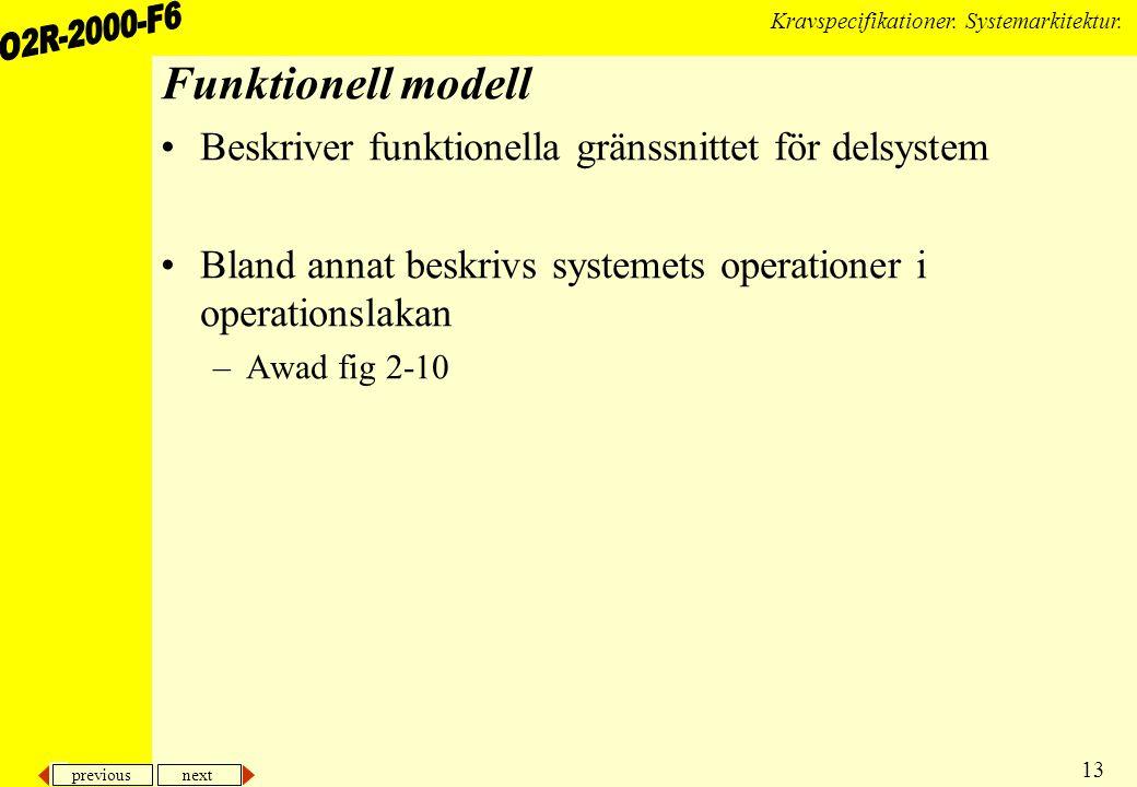 previous next 13 Kravspecifikationer. Systemarkitektur. Funktionell modell Beskriver funktionella gränssnittet för delsystem Bland annat beskrivs syst