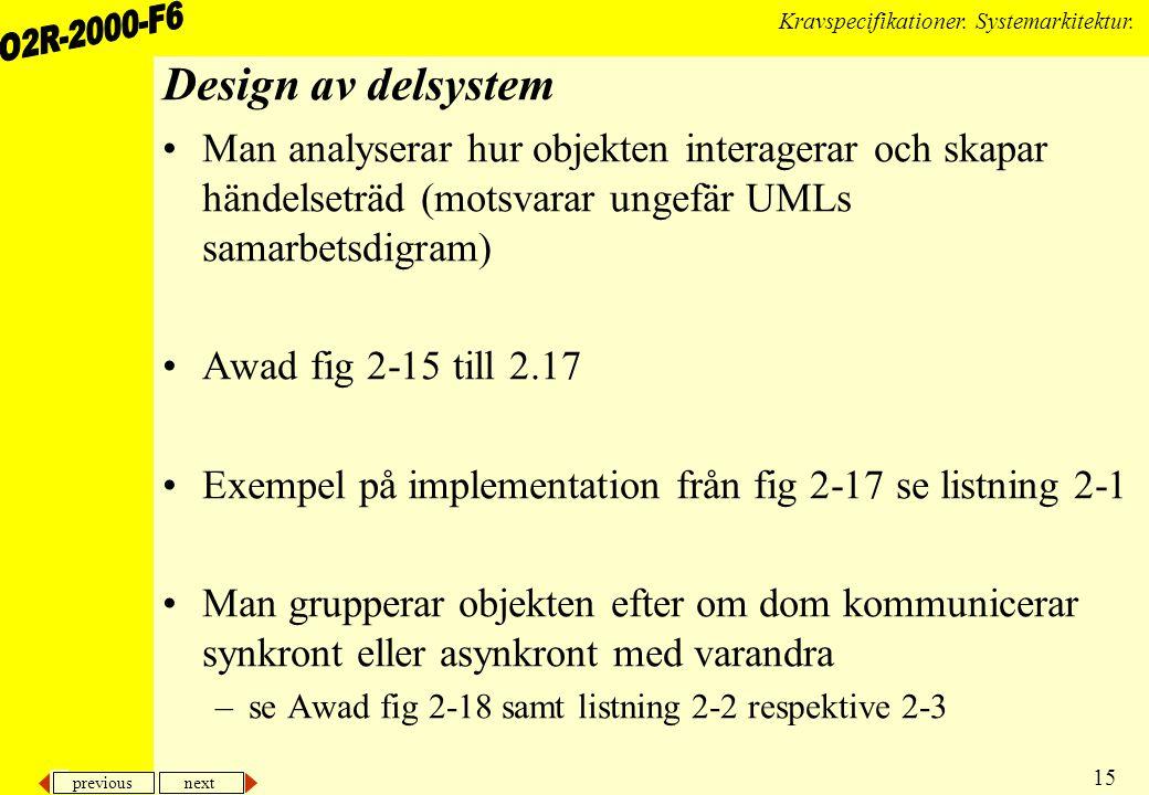 previous next 15 Kravspecifikationer. Systemarkitektur. Design av delsystem Man analyserar hur objekten interagerar och skapar händelseträd (motsvarar