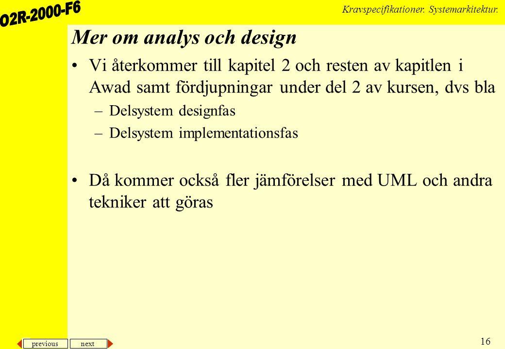 previous next 16 Kravspecifikationer.Systemarkitektur.