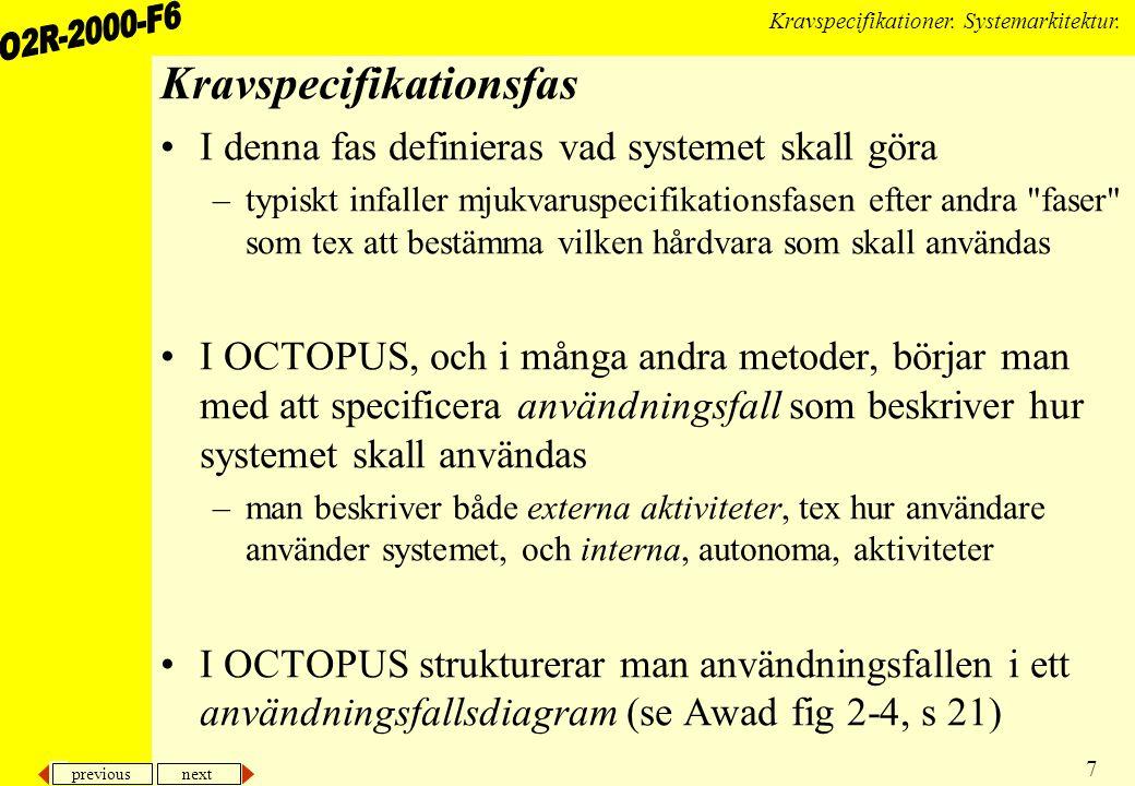 previous next 7 Kravspecifikationer. Systemarkitektur. Kravspecifikationsfas I denna fas definieras vad systemet skall göra –typiskt infaller mjukvaru