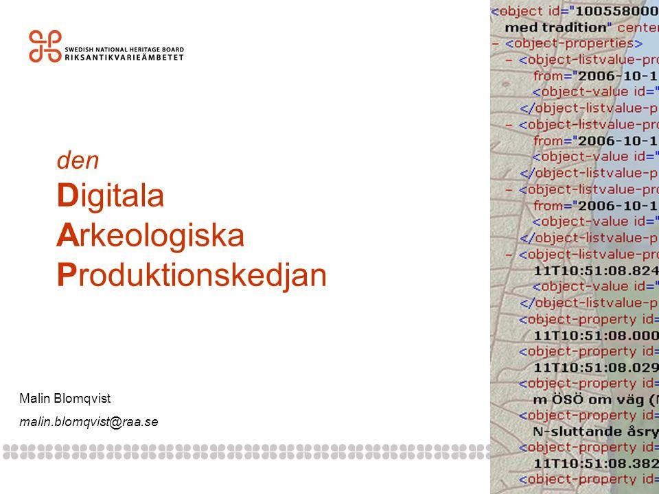 den Digitala Arkeologiska Produktionskedjan Malin Blomqvist malin.blomqvist@raa.se