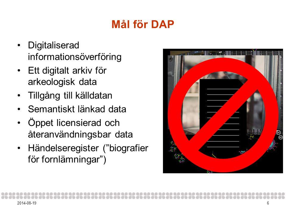 62014-08-19 Mål för DAP Digitaliserad informationsöverföring Ett digitalt arkiv för arkeologisk data Tillgång till källdatan Semantiskt länkad data Öp