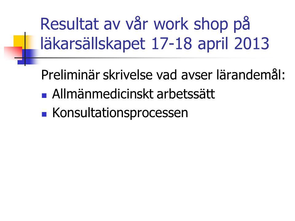 Resultat av vår work shop på läkarsällskapet 17-18 april 2013 Preliminär skrivelse vad avser lärandemål: Allmänmedicinskt arbetssätt Konsultationsprocessen