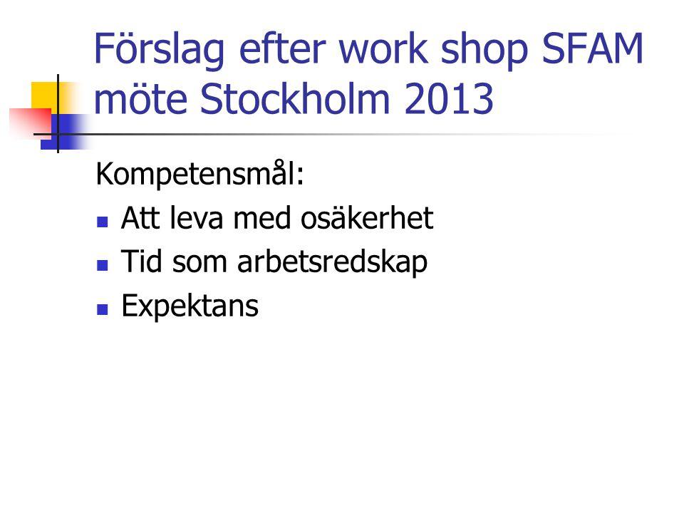 Förslag efter work shop SFAM möte Stockholm 2013 Kompetensmål: Att leva med osäkerhet Tid som arbetsredskap Expektans