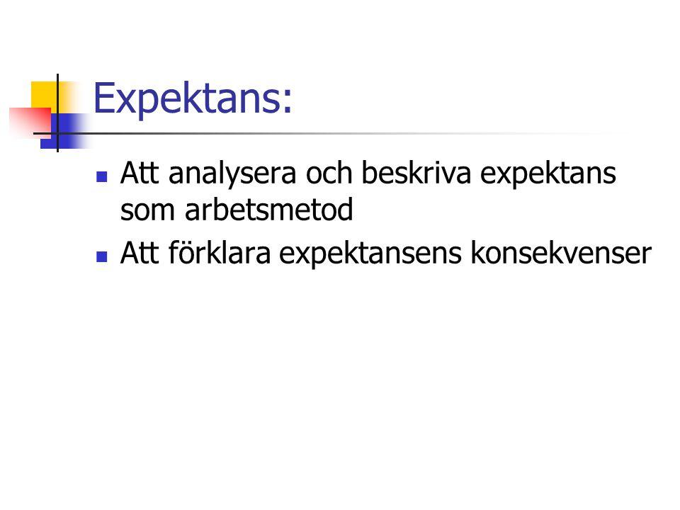 Expektans: Att analysera och beskriva expektans som arbetsmetod Att förklara expektansens konsekvenser