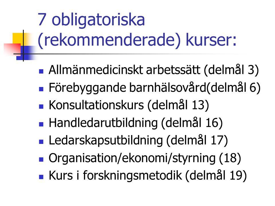 7 obligatoriska (rekommenderade) kurser: Allmänmedicinskt arbetssätt (delmål 3) Förebyggande barnhälsovård(delmål 6) Konsultationskurs (delmål 13) Handledarutbildning (delmål 16) Ledarskapsutbildning (delmål 17) Organisation/ekonomi/styrning (18) Kurs i forskningsmetodik (delmål 19)