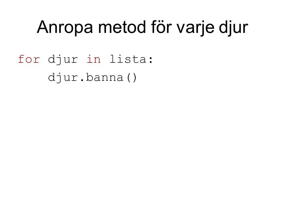 Anropa metod för varje djur for djur in lista: djur.banna()