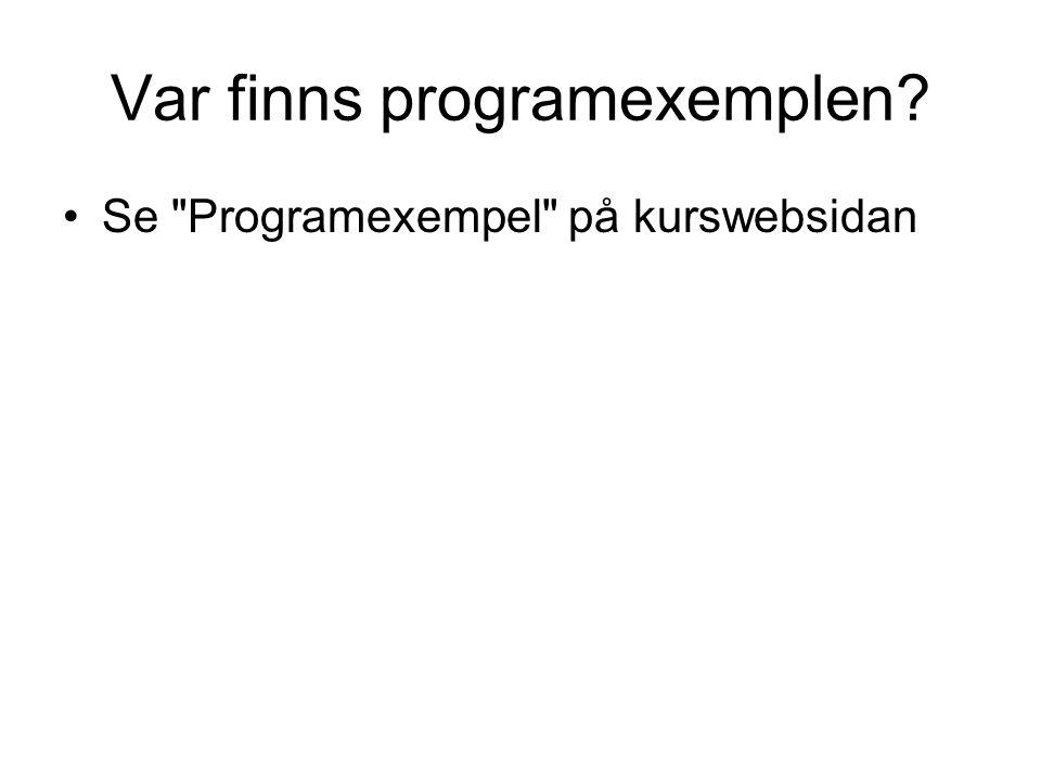 Var finns programexemplen? Se